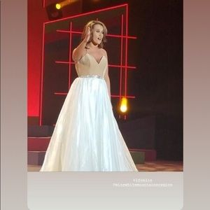 Size 8 white and nude ball gown